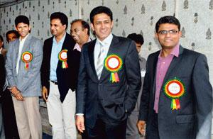 Change of guard: (from left) Prasad and Srinath, and Kumble (right). PTI photo