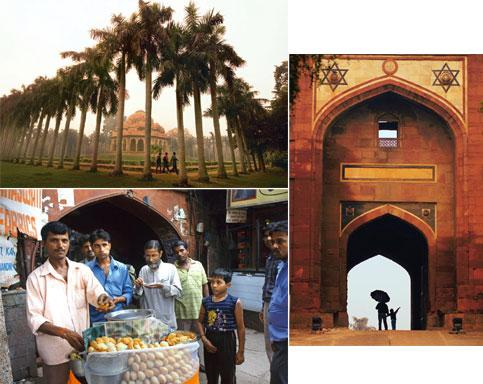 Open windows: (clockwise from top left) Lodi Gardens, one of the city's green oases; the iconic Purana Qila; and a food vendor on the streets of Old Delhi. Photographs: Priyanka Parashar/Mint