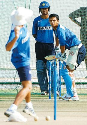 Gearing up: Rahul Dravid at a practice session. Sunil Saxena/Hindustan Times