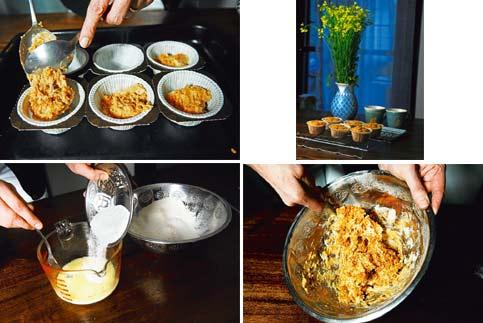 A dash of orange: (clockwise from left) Take care not to over-mix the batter; the dry and wet ingredients should be mixed separately; be gentle while spooning the batter into the moulds; and serve fre