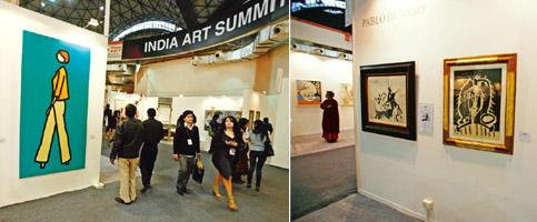 Rare opportunity: The India Art Summit will open for the public today; (right) works by Pablo Picasso. Photos: Javeed Shah/Mint