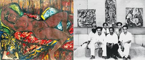 Ahead of time: (left) The iconic nude by Ara; and (from left) Husain, Souza, Bakre, Ara, Raza and Gade in a press photo from 1948. Courtesy National Gallery of Modern Art, Mumbai