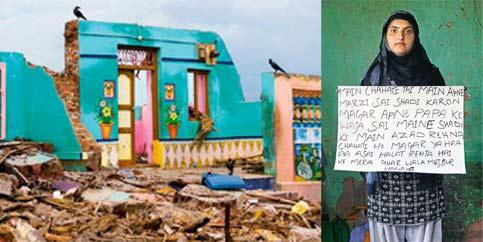 Vivid: Fisk's image of the tsunami in Nagapattinam; and (left) 20-year-old Rabia Shebu from Kashmir, in the iSpeak India series.