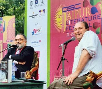 In high spirits: Pakistani journalist Ahmed Rashid (left) with British writer, historian William Dalrymple at the Jaipur Literature Festival. Photo: PTI