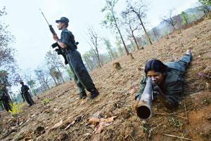 Gaining ground: A file photo of members of the Communist Party of India (Maoist) carrying out training exercises in Chhattisgarh