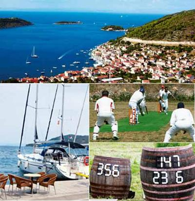 Sea six: (clockwise from top) A bird's-eye view of Vis, a Croatian league game in progress, Café tables in the Vis marina and improvised scoreboards fashioned out of wine barrels.