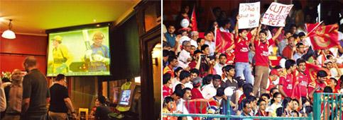 Hysteria: (left) A Sri Lanka versus Australia match on the big screen. Matthew Armstrong; and an IPL match in progress between Royal Challengers Bangalore and Kolkata Knight Riders in Bangalore in 201