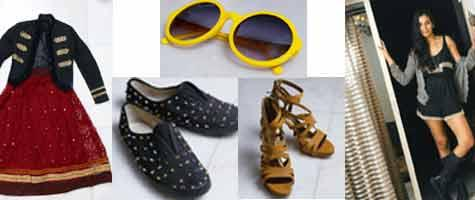 Bandwidth: (clockwise from top ) The bright sunglasses that Dogra owns, One of the few pairs of heels that Dogra owns; she is a fan of colourful beads and loves these shoes and the jacket and long ski