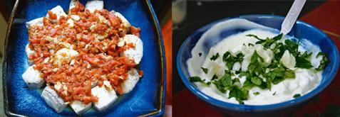 Keep it simple: Some creative licence with an old recipe yields the highly satisfying fish with bourbon and saunf ; and (right) the mint and yogurt dip. Convert a bleary Sunday morning into a bright,