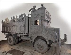Traffic stopper: A life-size truck by Valay Shende.