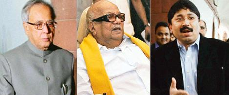Estranged partners: Finance minister Pranab Mukherjee ( left), DMK leaders M. Karunanidhi (middle) and Dayanidhi Maran.