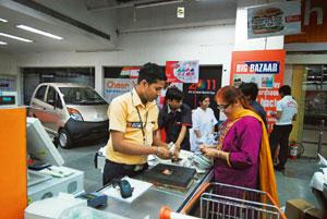 Retail ride: A Tata Nano on display at a Big Bazaar outlet in Noida. Ankit Agrawal/Mint