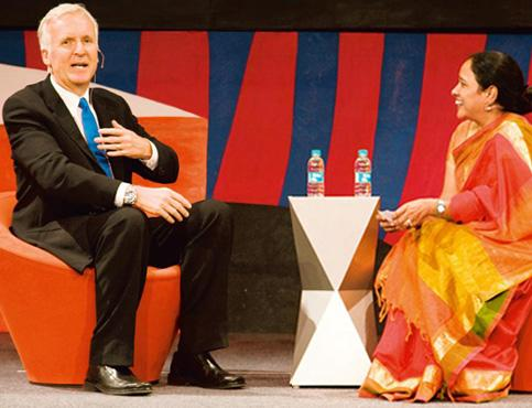 Mind travel: Film-maker James Cameron (left) and Lakshmi Pratury in conversation at INK 2010 in Lavasa, Maharashtra, in December. Gene Driskell/INK