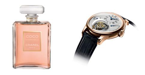 Watch out: (from right) Zenith's new model, the Christophe Colomb chronometer, is priced at Rs98 lakh; Coco Mademoiselle, Chanel's new perfume is priced under Rs20,000.