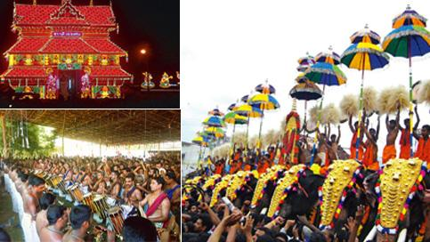Pachyderm country: (clockwise) A temple lit up at night. Photo: Aruna/Wikimedia Commons; chendas and elathalams (drums) in the procession. Photo: Prajith Prabhakaran; and the parasol jugalbandi or Kud