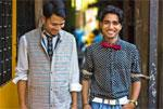 Feroze, 32, (left) and Naseem, 22: They are tailors at Bungalow 8, dressed in Mathieu Gugumus Leguillon's new collection inspired by the men in Mumbai. Photographs courtesy Manou and Bungalow 8