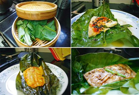 Far from the Mekong: (clockwise from , left) Steaming is a good way to cook a light fish like basa; steamed basa flavoured with sesame and mustard, soy and galangal, and chilli and turmeric.