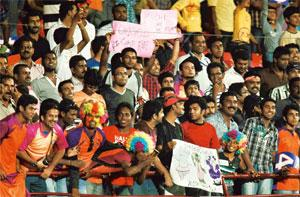 Growing audience: A file photo of Kochi Tuskers Kerala supporters during the match against Chennai Super Kings at Jawaharlal Nehru Stadium in Kochi. Ticket prices for the Kochi matches range from Rs40