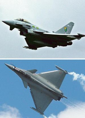 Left in the race: A file photo of a Eurofighter Typhoon (top) and a Dassault Rafale. Indian defence ministry officials say the two shortlisted companies have been asked to extend their commercial bids
