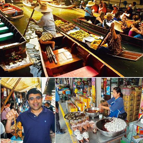 River commerce: (from left clockwise ) Stalls on boats (photograph by Sanjay Arora); food vendors along the floating market; and Abraham (photographs by Thomas Abraham)