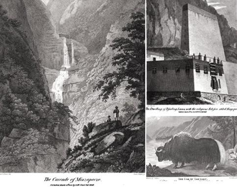 Postcards: (clockwise from down right) Sketches from the book of a yak; waterfalls in Bhutan; and the Teshu Lama's residence. Courtesy Google Books
