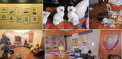 Old-world charm: (clockwise from top) Several hand-drawn sketches by Cyril Shroff line the walls at the office;a pair of 150-year-old porcelain pooches on Cyril's desk; a stuffed toy puppy at Cyril's