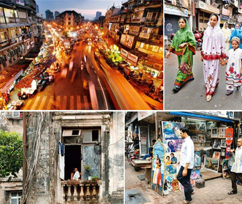 In focus: (clockwise from top right) The main junction at Bhendi Bazaar; Bohra women in rida; a curio store in Chor Bazaar; and an old building in the area. Photographs by Abhijit Hatlekar /Mint