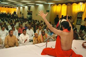 In the cross hairs: Baba Ramdev and his yogic practices have come under the scanner. Ranjeet Kumar/The Hindu