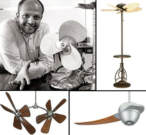 Fan fair:(clockwise from top left) Rajkumar Jain with one of his favourite pieces; Torrento, an outdoor fan; Enigma, a single-blade fan and a fan that can be tilted at five angles. Photographs by Raje