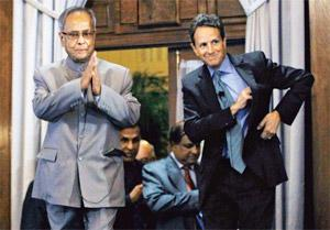 Charting cooperation: US treasury secretary Timothy Geithner (right) and India's finance minister Pranab Mukherjee during a conference on India-US relations in Washington on Tuesday. Geithner urged In