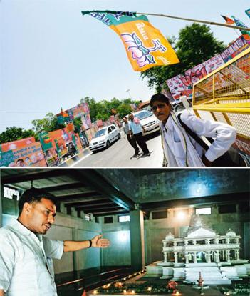 Gearing up: (above) VHP spokesperson Sharad Sharma with a model of the Ram mandir; (top) BJP posters and flags line a street in Lucknow. Photographs by Pradeep Gaur/Mint