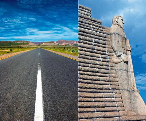 Down the Karoo: (from left) The endless road with no man-made installation in sight; the Piet Retief statue of the Voortrekker monument outside Pretoria. Photos: Thinkstock