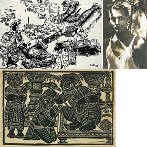 The artist's oeuvre: (clockwise from left) Bhattacharya in a torn vest in 1943; a linocut on paper from the Ramayana series and a poster by the artist