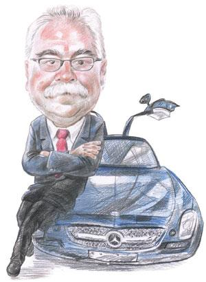 The default choice: Honegg is the third generation from his family to work at Daimler. His father and grandfather worked for Daimler for 44 years each. Illustration: Jayachandran/Mint
