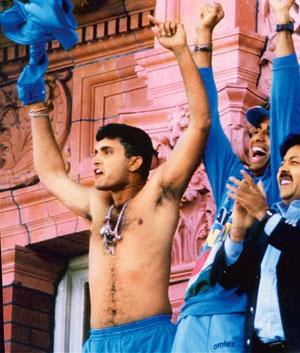 Baring more than his soul: Sourav Ganguly breaks tradition by going topless after India defeated England in the NatWest Trophy final at Lord's in 2002. PTI