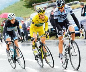 In the running: (from left) Andy Schleck of Luxembourg, race leader Thomas Voeckler of France and Alberto Contador of Spain. Denis Balibouse/Reuters