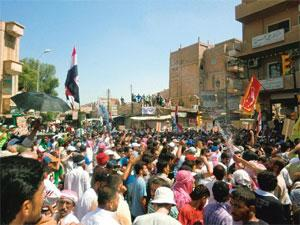 No respite: A file photo of people protesting against President Bashar al-Assad in Deir al-Zor, Syria. Reports say government has launched a fresh campaign against protesters in major cities, includin