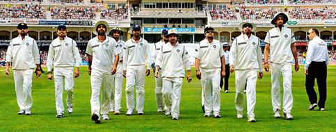 Lost cause: the Indian cricket team at Trent Bridge during the second Test. Photograph by: Philip Brown/Reuters