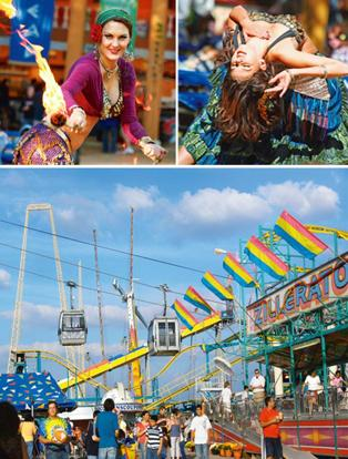 The fair south: (left) The skyway at the State Fair of Texas; and fire and belly dancers at the Texas Renaissance Festival. Photographs by Frank Kovalchek/Wikimedia Commons
