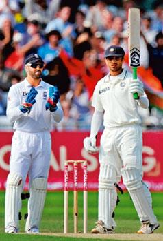 Maestro: Rahul Dravid (right), 38, has so far scored two centuries in the Test series against England. Photograph by: Philip Brown/Reuters