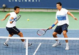 Pairing up: Leander Paes (left) and Mahesh Bhupathi. Photograph by Elsa/Getty Images/AFP
