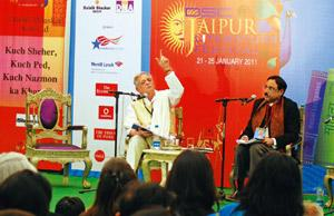 Growing popularity: A file photo of poet Gulzar and writer Pavan Varma at the Jaipur Literature Festival 2011. SP Sharma/Hindustan Times