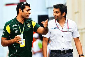Gearing up: Karun Chandhok (left), a Lotus-Renault reserve driver, and Narain Karthikeyan of the Hispania Racing Team. Photograph by Clive Rose/Getty Images