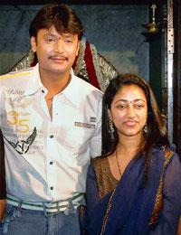 Villain? Darshan with wife Vijayalakshmi. Photo by PTI.