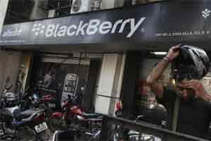 Going Over to the Dark Side: A BlackBerry showroom in Mumbai. Photo: Bloomberg