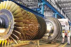 A file photo of a gas turbine rotor on assembly bed at BHEL Hyderabad