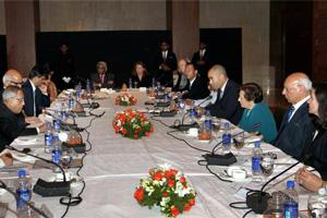 File photo of finance minister Pranab Mukherjee meeting with the Executive Directors (EDs) of the World Bank in New Delhi on Thursday.(PTI)