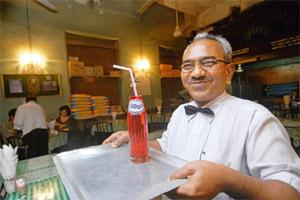 Red velvet: Britannia restaurant is one of the few places in Mumbai that still serves the raspberry drink. Photo by Abhijit Bhatlekar/Mint.