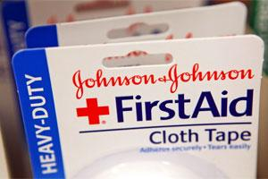 Rolls of Johnson & Johnson cloth tape are displayed for sale. Photo: Bloomberg.
