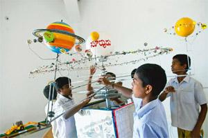 Little Einsteins: Children at the Agastya campus learn scientific concepts through models. Aniruddha Chowdhury/Mint